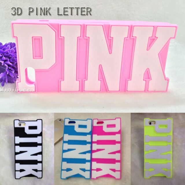 Fresh Big 3D Letters PINK Style Soft Silicone Case For iPhone 6 6s Plus 5s 5 4s