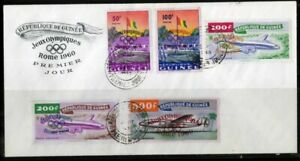 Guinea-Stamps-201-2-amp-C24-6-XF-USED-On-Cover-First-Day
