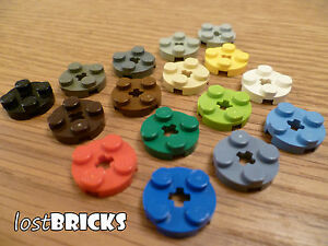 10 Pack of New LEGO plates Round 2x2 and Axle Hole (part 4032) + Select Colour  </span>