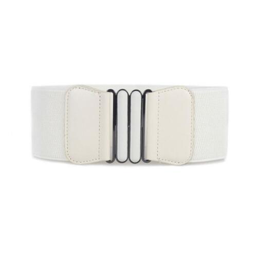 1pcs Women Wide Corset Belt Waist Hip Brown Elastic Faux Leather Plus Size PF