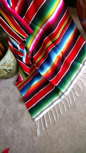 Mexican Serape Blanket XL Saltillo Traditional Folk Art Made in Mexico