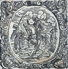 JOST AMMAN - Feldherr zu Pferde mit zwei Landsknechten - Holzschnitt 1566