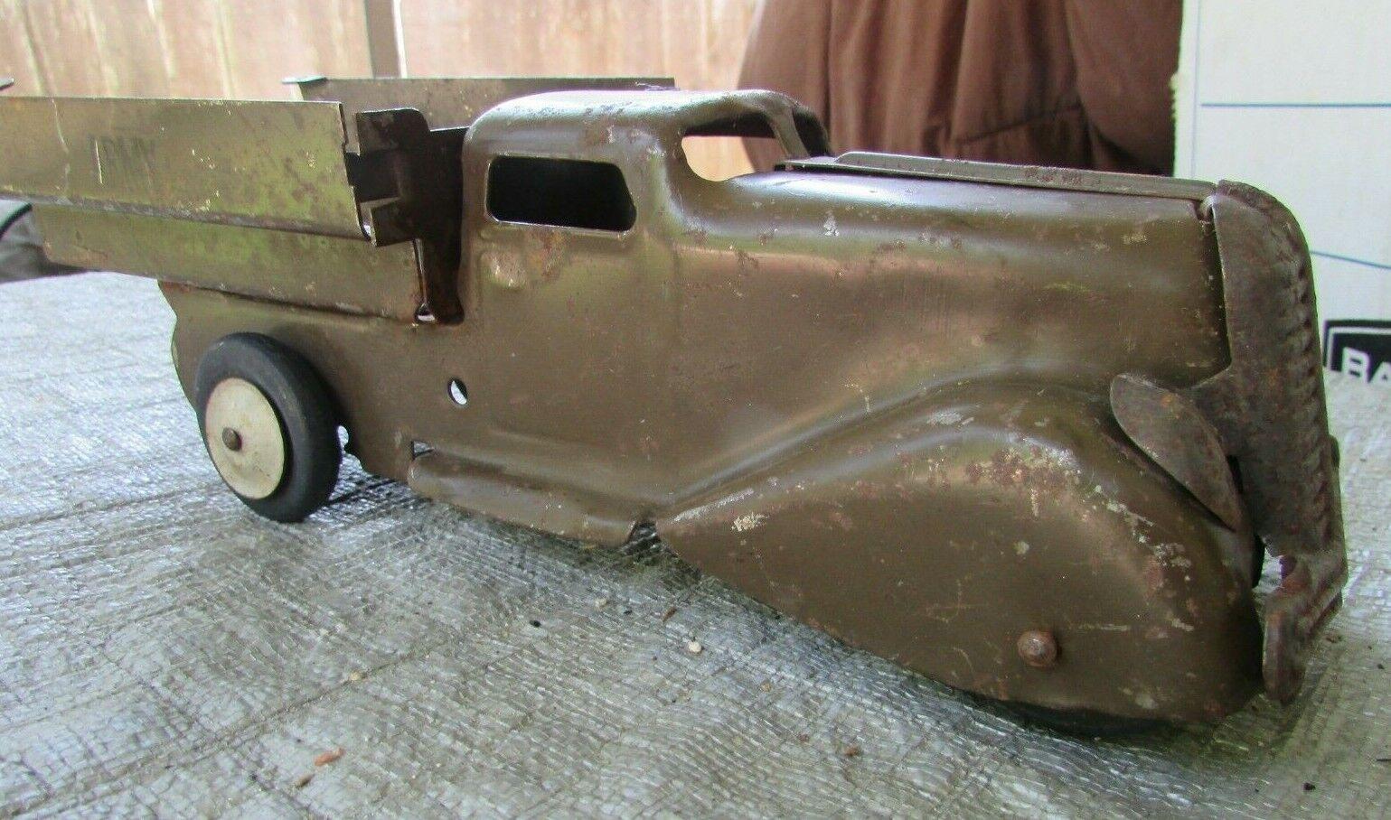 1930s Wyandotte Acero Prensado verde Ejército Militar 10.75  transporte de tropas GD + 2.5
