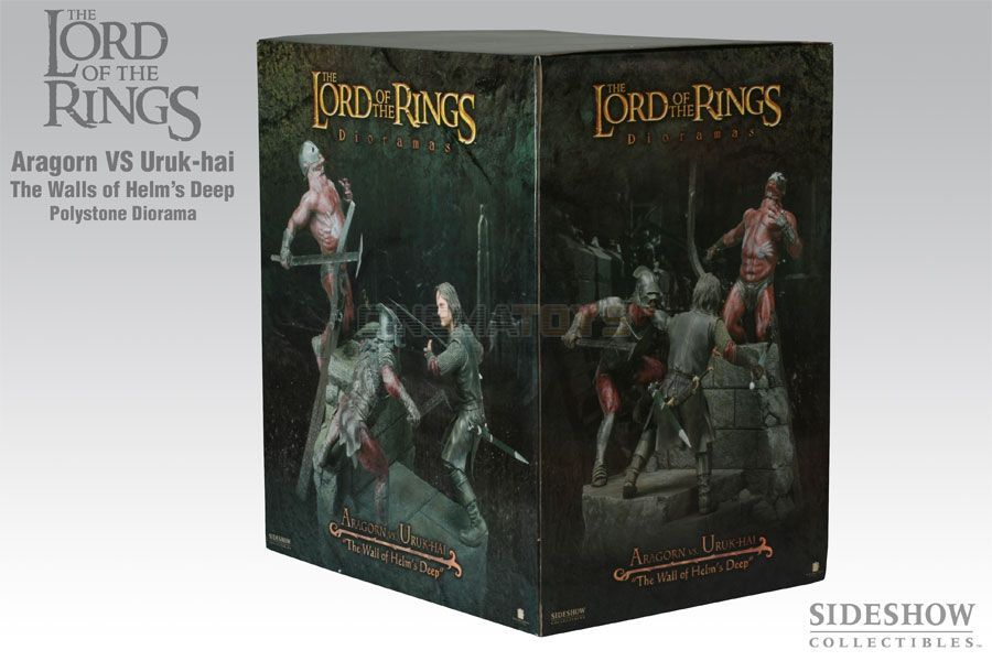The Lord Of The Rings The Wall Of Helm's Deep Deep Deep Aragorn Uruk-Hai Polystone Diorama 227c3c