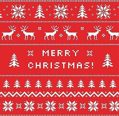 Merry Christmas Cards & Packs - Fairisle Jumper Style Reindeers & Trees Design