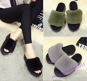 Korean Womens Shoes Slippers Fur Furry High Platform Creeper Winter ... a57997151