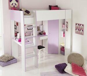 Hochbett schrank schreibtisch spiegel kinderzimmer m dchenzimmer weiss lila neu ebay - Lila madchenzimmer ...