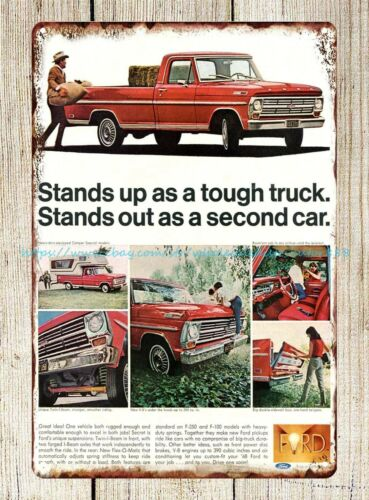 vintage wall decor 1968 Ford Pickup Truck ads tin sign