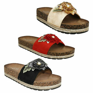 63a71169eecf Details about SPOT ON F1R0810 LADIES SLIP ON OPEN TOE SUMMER MULES WOMENS  BEACH FLORAL SANDALS