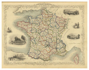 France-Ile-de-France-Aquitaine-Normandy-Brittany-illustrated-map-Tallis-ca-1851
