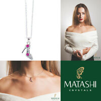 16 Rhodium Plated Necklace W/ Stiletto Shoe & Rose Red Crystals By Matashi on sale