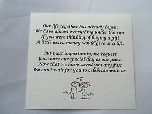 Image Is Loading 50 Small Wedding Gift Poem Cards Asking For