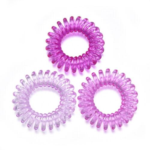 3PCS Gel Elastic Spiral Coil Hair Ties Band Ponytail Holders Plastic Phone Cord