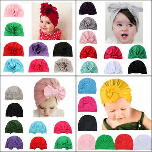 Kids-Girls-Baby-Toddler-Turban-Knotted-Bow-Hat-Cap-Headband-Hair-Band-Headwear