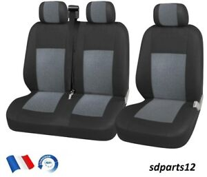Renault-Trafic-Master-Housse-Couvre-Sieges-2-1-Luxe-Tissus-Gris-Noir