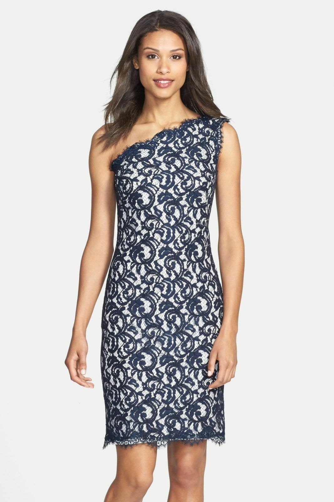 TADASHI SHOJI One-Shoulder Lace Sheath Dress NAVY IVORY Größe 2 NWT
