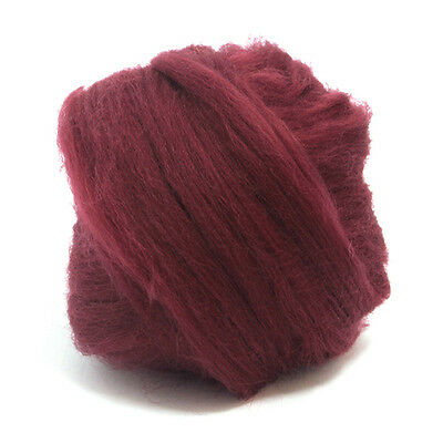 50g DYED MERINO WOOL TOP CLARET RED DREADS 64's SPINNING FELTING ROVING