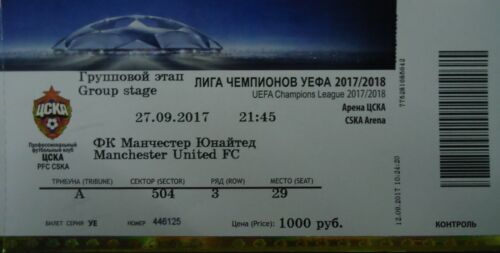mint TICKET UEFA CL 2017//18 ZSKA Moskau Manchester United