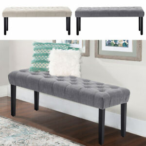2-Seater-Fabric-Dining-Bench-Deep-Buttoned-Bed-End-Chair-Long-Stool-Window-Seat