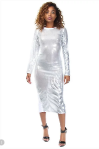 be9565a1f25b Long Sleeve Silver Front Sequin White Midi Back Slit Cocktail Dress ...