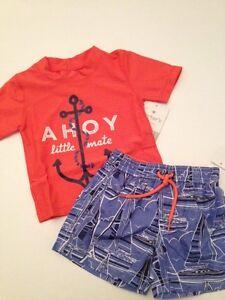 567698dc47 Carters Baby Boy Rash Guard Swimsuit Trunks Set Size 12 18 24 Months ...