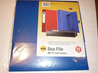 Marbig Box File 20098 A4 PP with button 60mm capacity BLUE No 2009801