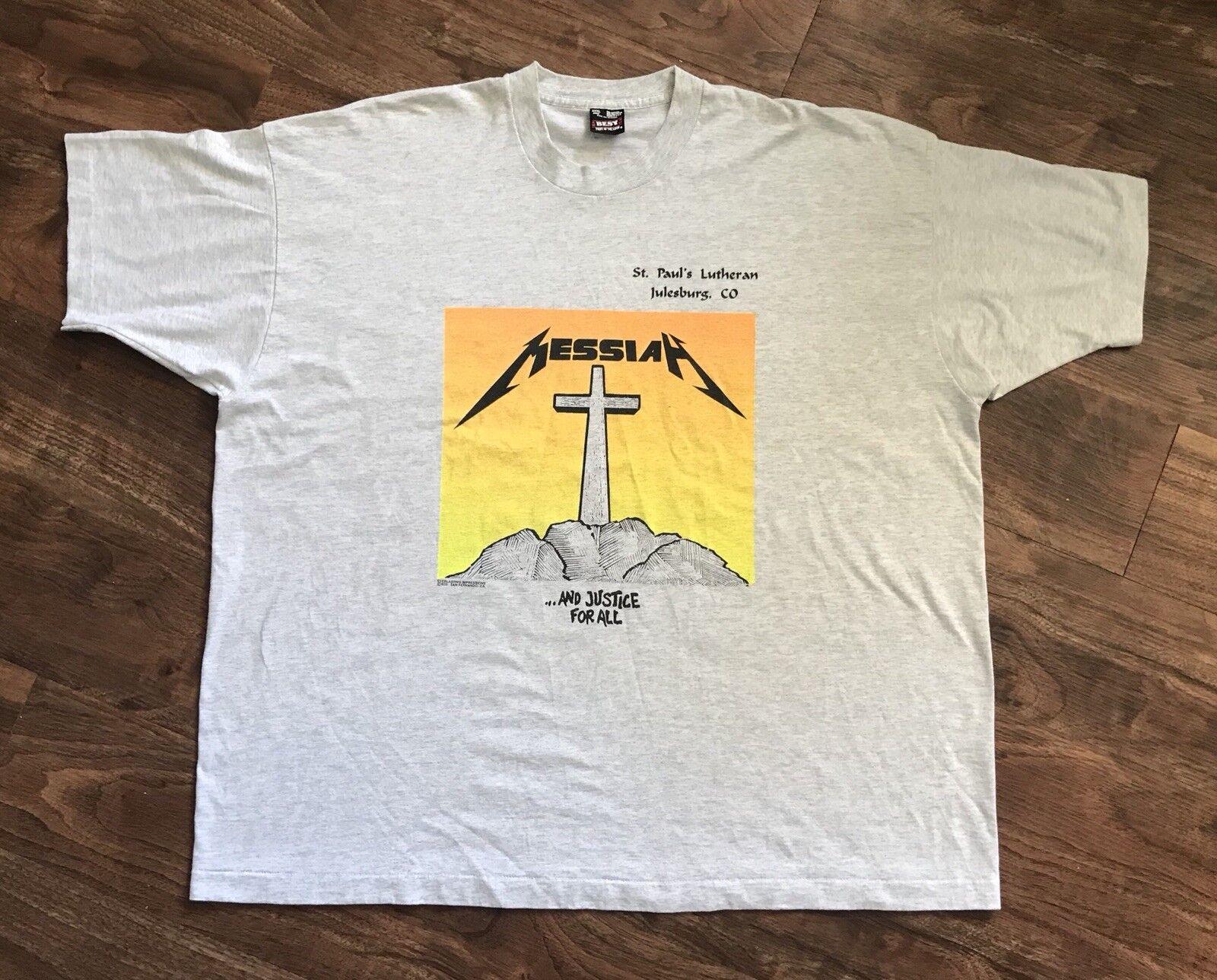 Vintage 90s St Paul Lutheran Church Messiah T-shirt Metal Font 3XL XXXL
