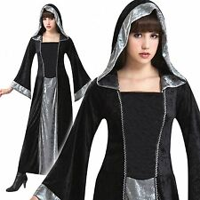 LADIES BLACK VELVET HOODED GOTHIC MEDIEVAL FANCY DRESS CLOAK HALLOWEEN