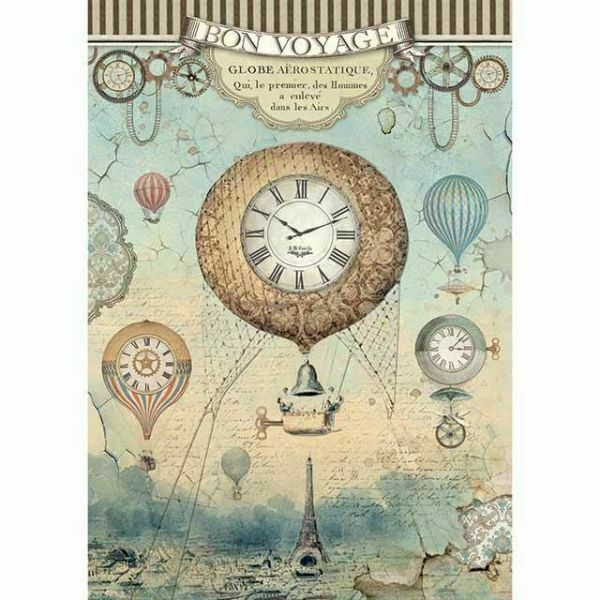 STAMPERIA A4 Rice Paper Craft Tissue Decoupage Voyages Fantastiques Balloon