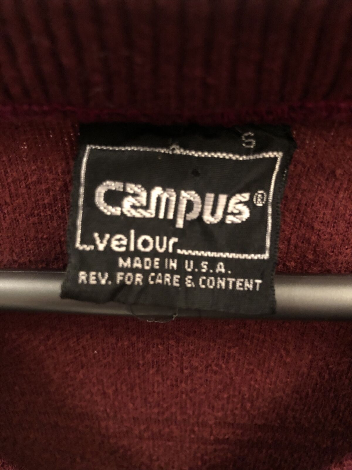 VTG 70s Campus Velour Striped Made in U.S.A. Pull… - image 2