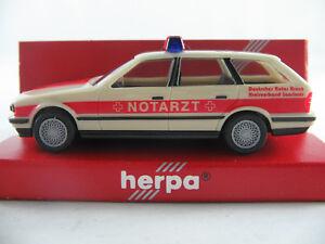 Herpa-043359-BMW-525i-Touring-1991-034-DRK-KV-Saarlouis-NOTARZT-034-1-87-H0-NEU-OVP