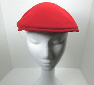 9c17188871a Vintage Kangol Red Wool Cap Hat Cabbie Newsboy Made in UK Size Small ...