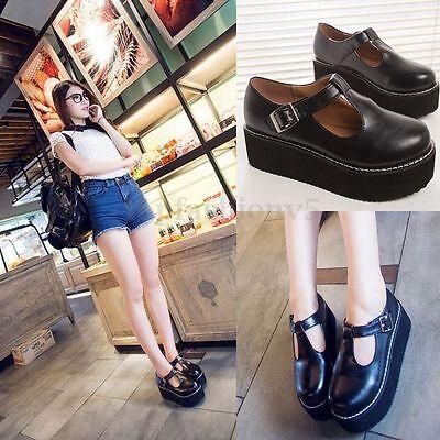 Donna Creepers Scarpe Piatto Plateau Platform Nero Pelle Zatteroni Alti Shoes
