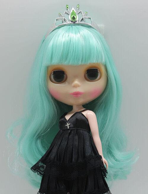 Blythe Desnuda Muñeca de fábrica transparente piel pelo verde claro con Bang