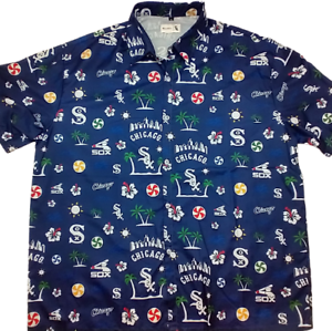 Chicago-White-Sox-Men-039-s-XL-Blue-Hawaiian-Floral-Retro-Logo-Beggars-SGA-Giveaway