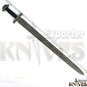 Blacksmith-New-Custom-Made-Damascus-Steel-Viking-Medieval-Sword-Wooden-Handle