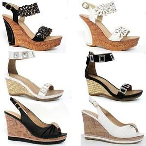 86e1191d3bbd Details about LADIES WEDGE SANDALS WOMENS HIGH HEELS FANCY SUMMER DRESS  PARTY BEACH SHOES SIZE