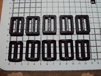"""10 x BLACK PLASTIC DELRIN 3 BAR SLIDES BUCKLES FOR WEBBING 25mm """"P"""""""
