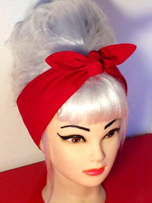 Bandana Hair Tie Pin Up 50s Mini Cream Vintage Skull Chain /& Rose Head Scarf