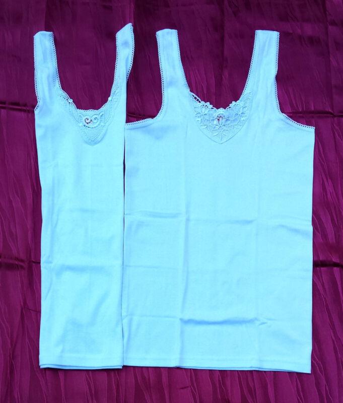 Damen Hemd Mit Spitze,100% Baumwolle, 2 Stück 1 Preis, Elastische Träger