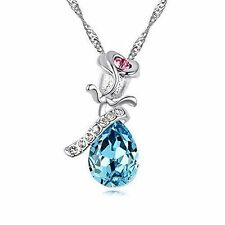 Valentine's Day Gift for her Teardrop blue Crystal rose Necklace Love w gift box