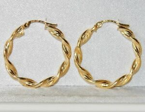 f55816d927292 Details about 9ct Gold Ladies Twisted Creole Hoop Earrings - UK Hallmarked