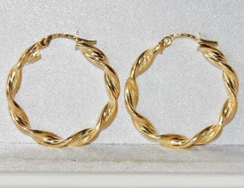 UK Hallmarked 9ct Gold Ladies Twisted Creole Hoop Earrings