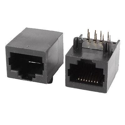 10PCS Black RJ45 8P8C Jack Modules PCB Mount Network Internet Connectors
