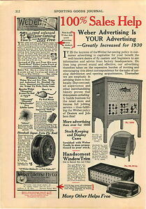 1930 Advert 2 Page Weber Fly Fishing Tackle Store Display Case