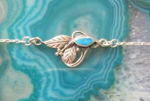Necklace-Sterling-Silver-925-with-Leaves-Leaf-Turquoise-Art-Nouveau-Style