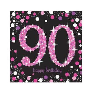 16pk-Pink-Sparkling-Celebration-90th-Birthday-Luncheon-Napkins-33cm