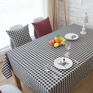 eg vintage plaid tablecloth cotton linen dining table desk cover