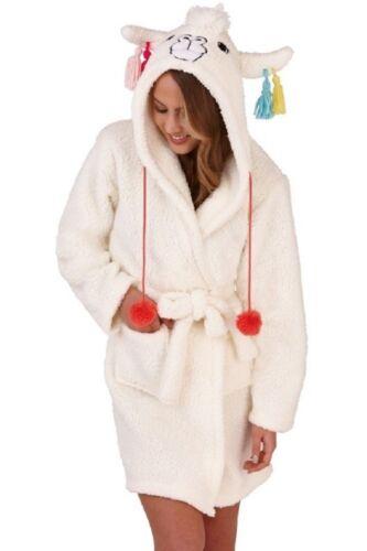 Ladies Cream Sherpa Fleece Cute Llama Design Hood Short Bath Robe//Dressing Gown