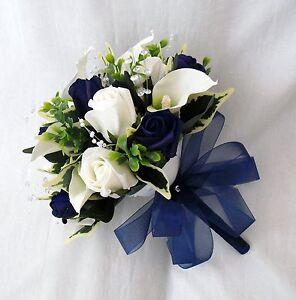 Brides Posy Bouquet Cala Lilies Ivory Navy Blue Artificial
